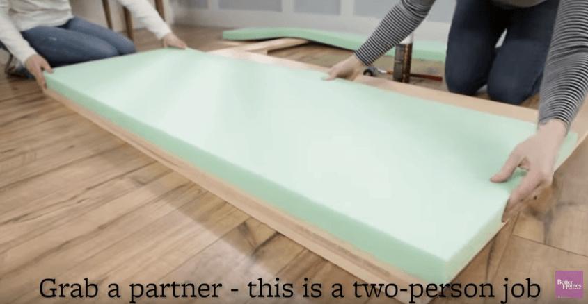 Cut foam to fit headboard
