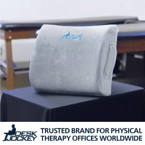 The Desk Jockey Lower Back Pain Lumbar Support Cushion is an affordable and durable memory foam pillow that can be attached to your desk chair or the driver's seat in your car.