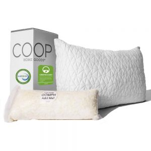 Coop Home Goods Premium is the best shredded memory foam pillow on the market. The best aspect of this pillow is that you can remove or add the shredded memory foam filling to increase or decrease the loft size of this pillow.