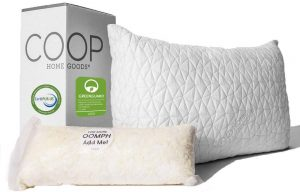 The Coop pillow is an adjustable pillow made from 60% Polyester and 40% Rayon derived from Bamboo. The soft bamboo allows for better ventilation so you can remain cool all through the night. It is hypoallergenic and dust-mite resistant and machine washable.