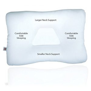 Core Products Tri-Core Cervical Support Pillow has been designed specially as a neck support pillow. This cervical pillow features a concave center that can host your head while the elevated roll around the sides can support your neck and shoulders.