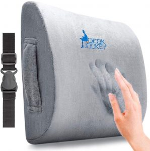 Desk Jockey Lumbar Pillow is one of the best lumbar supports on the market. It's made of high-quality memory foam so it conforms to the shape of your back perfectly and also arches your lower back to ensure complete spinal alignment when you're sitting.