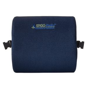 This is a thin pillow with a convex outside that supports your lower back or lumbar and prevents back pain.