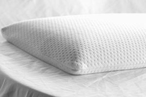 "The slim pillow is only 2.5"" and comes with ergonomic edges designed specifically for added comfort for those who favor sleeping on their back or stomachs."