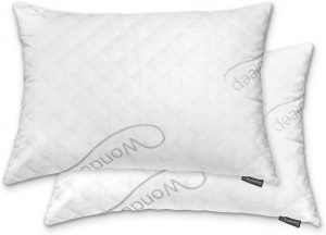 WonderSleep Premium is one of the most fluffy pillows on the market. It's made of extremely soft shredded memory foam and the pillow is covered with a machine-washable bamboo-derived rayon pillowcase.