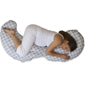 The shaped pregnancy pillow follows the shape of your body for support while you are pregnant and through your recovery once you have had your baby.