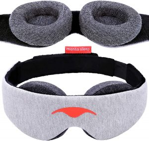 An eye mask can help to give you the darkness you need to get some sleep. This sleep mask blocks out the light 100% and places no pressure on your eyes, allowing you to relax and fall asleep wherever you are.