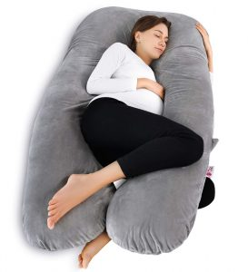 We love this big, snugly soft pillow, it is the perfect pregnancy bed rest pillow. This pillow replaces all your other regular pillows and will support your whole body while you sleep.