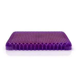 When you sit on the purple pillow it will align your spine, hips, and neck so that your posture is correct and you are sitting comfortably.